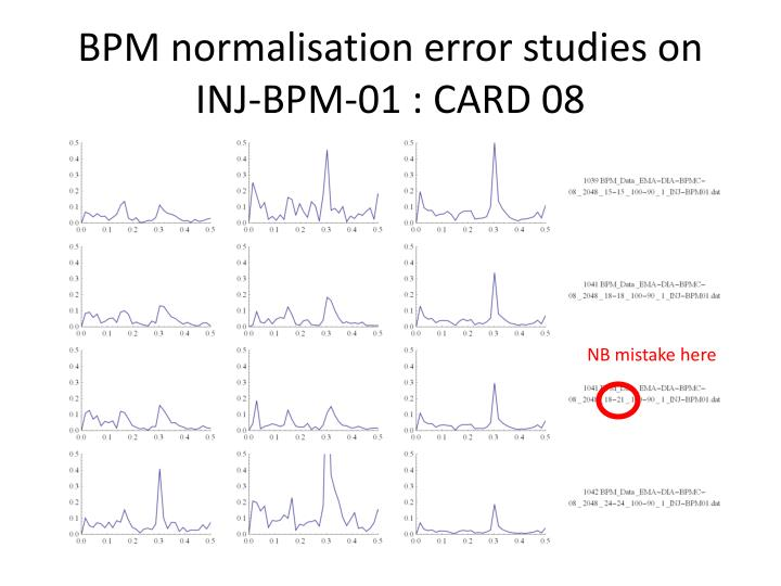 BPM normalisation error studies on INJ-BPM-01 : CARD 08