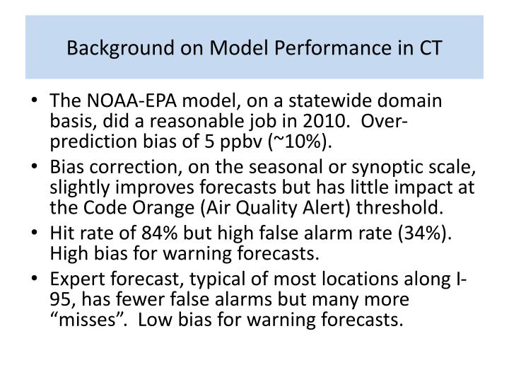 Background on Model Performance in CT