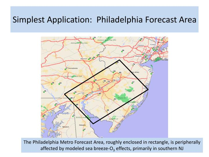 Simplest Application:  Philadelphia Forecast Area