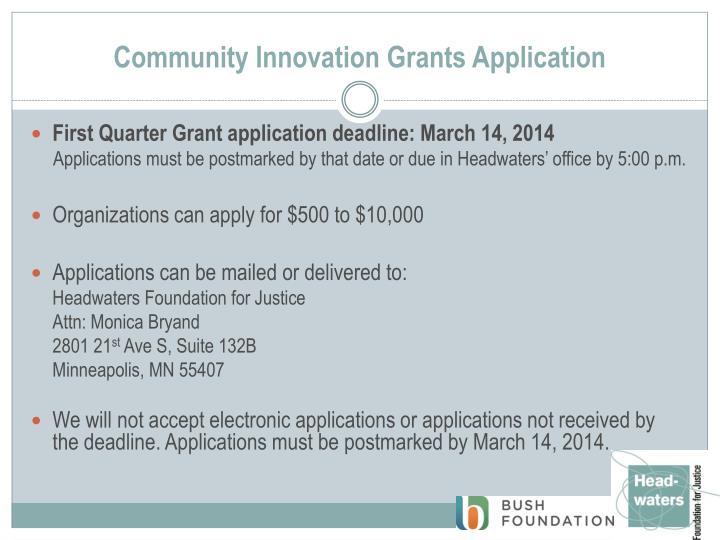 Community innovation grants application