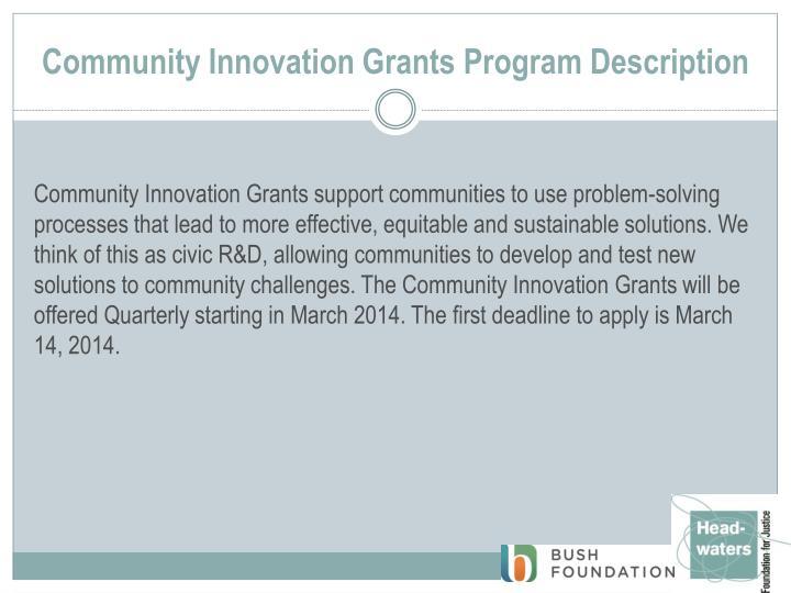 Community Innovation Grants Program Description