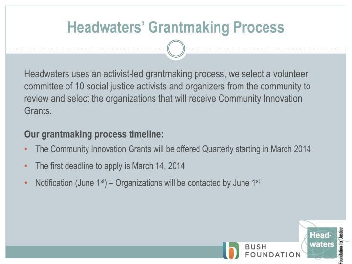 Headwaters grantmaking process