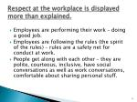 respect at the workplace is displayed more than explained