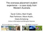 the overseas placement student experience a case study from western australia