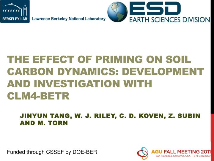 The effect of priming on soil carbon dynamics development and investigation with clm4 betr
