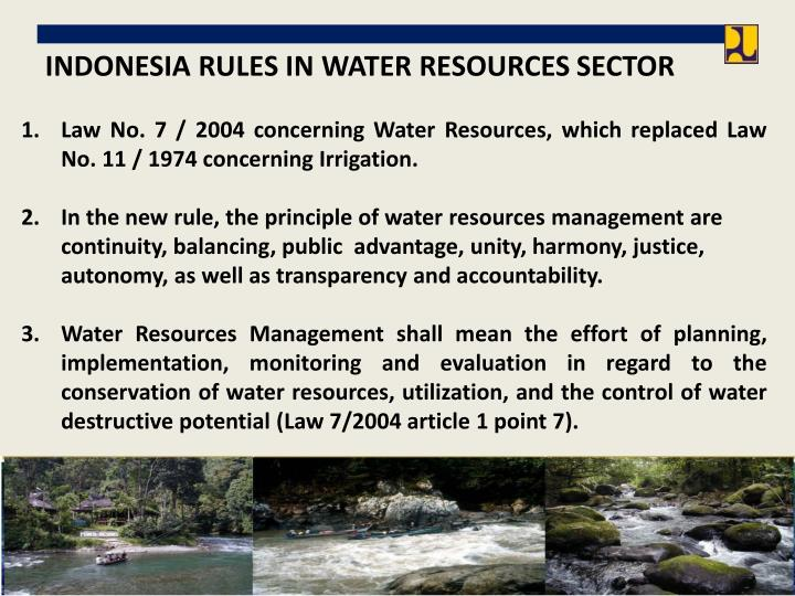 INDONESIA RULES IN WATER RESOURCES