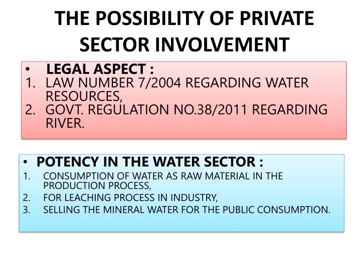 THE POSSIBILITY OF PRIVATE SECTOR INVOLVEMENT