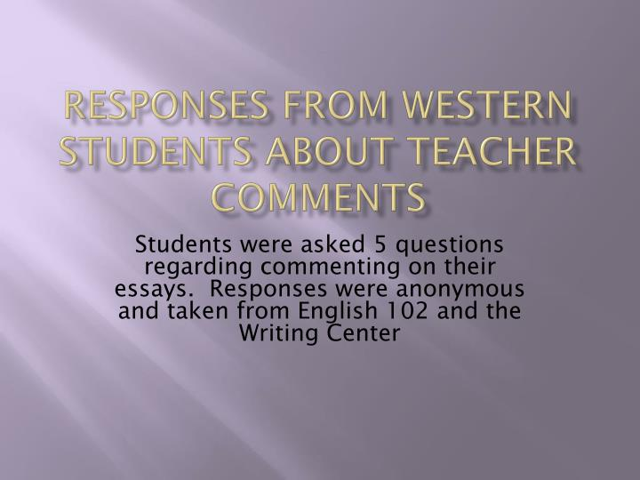 Responses from western students about teacher comments