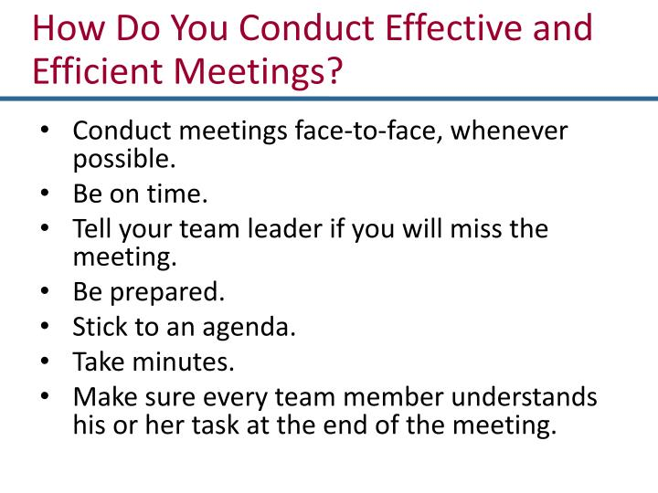 How Do You Conduct Effective and Efficient Meetings?