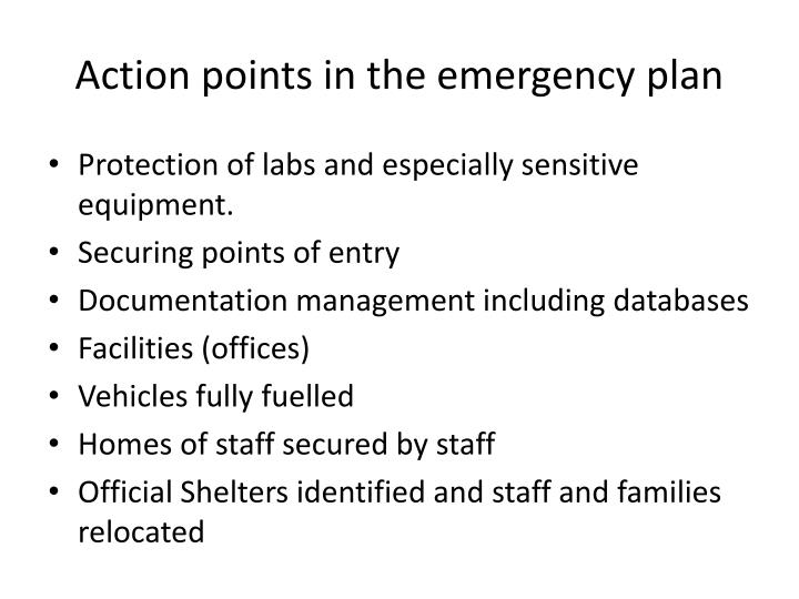 Action points in the emergency plan