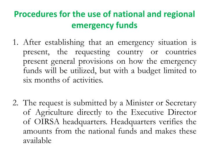 Procedures for the use of national and regional emergency funds