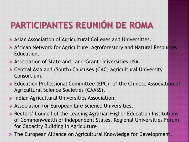 Participantes Reunión de Roma