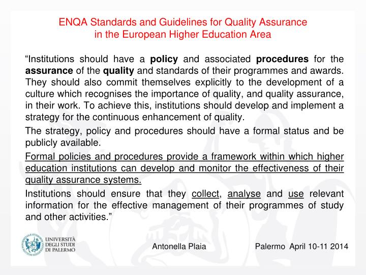 Enqa standards and guidelines for quality assurance in the european higher education area