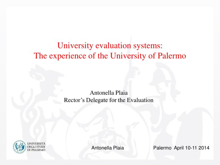 University evaluation systems the experience of the university of palermo