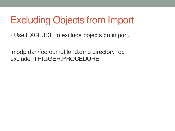 Excluding Objects from
