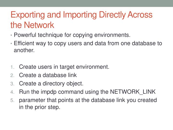 Exporting and Importing Directly Across the Network