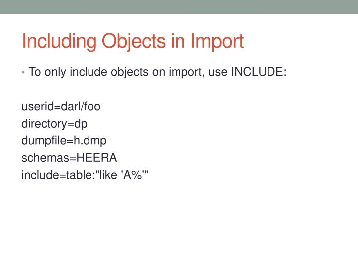 Including Objects in