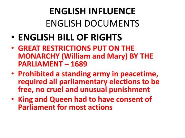 ENGLISH INFLUENCE