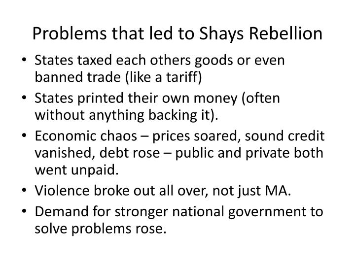 Problems that led to Shays Rebellion