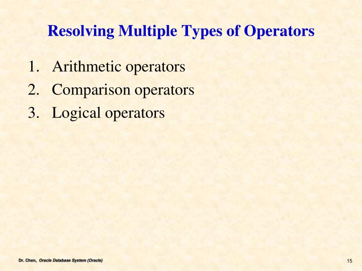 Resolving Multiple Types of Operators
