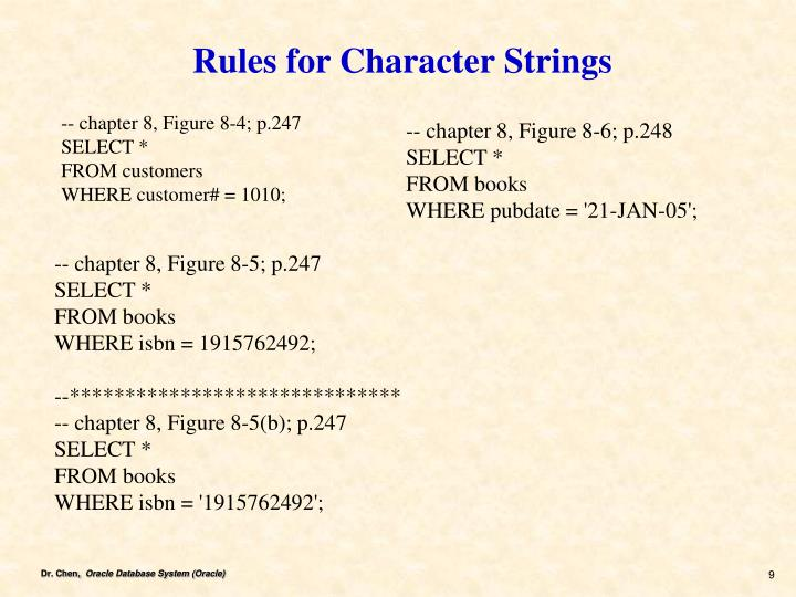 Rules for Character Strings