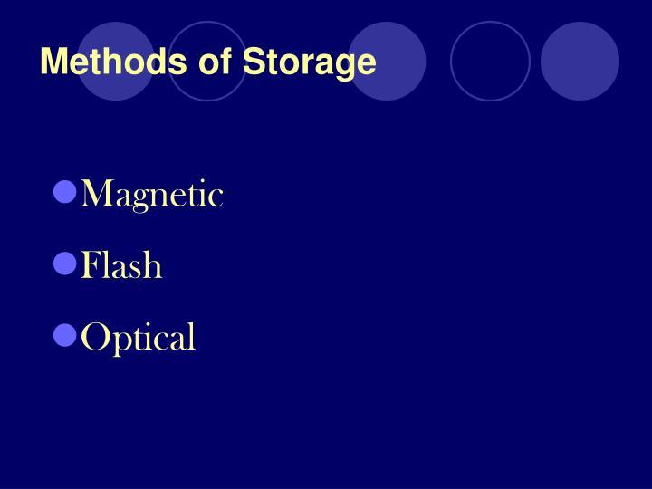 Methods of storage