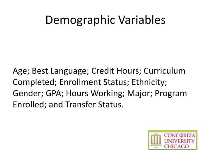 Demographic Variables