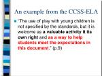 an example from the ccss ela