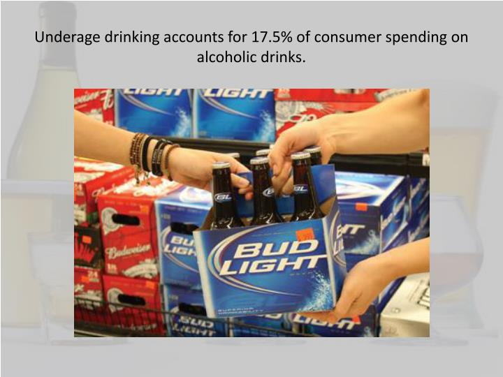 an analysis of the underage drinking of alcoholic beverages in the nineties • 26% had five or more drinks of alcohol in a row (binge drinking) in the past month • 4% had at least one drink of alcohol on school property on one or more days in the past month • in 2005, underage drinking cost citizens of the united states $603 billion.