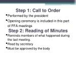 step 1 call to order