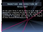 magnitude and direction of resultant