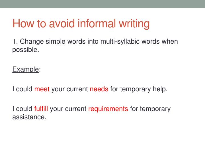 How to avoid informal writing