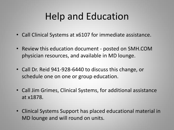 Help and Education