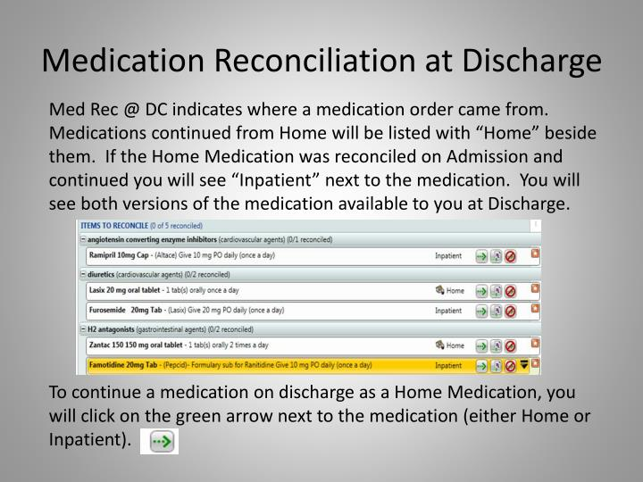 Medication Reconciliation at Discharge