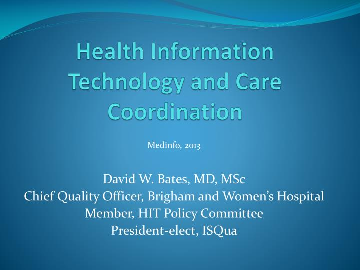 health information technology and care coordination n.