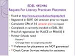 edel 445 446 request for literacy practicum placement