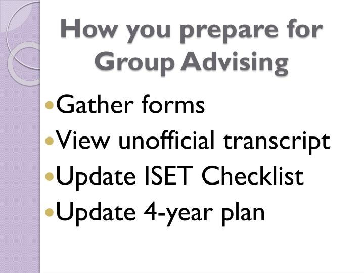 How you prepare for group advising