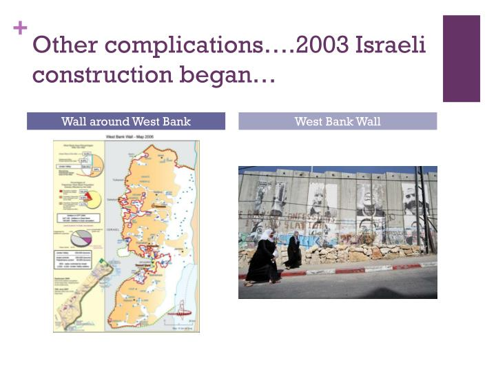 Other complications….2003 Israeli construction began…
