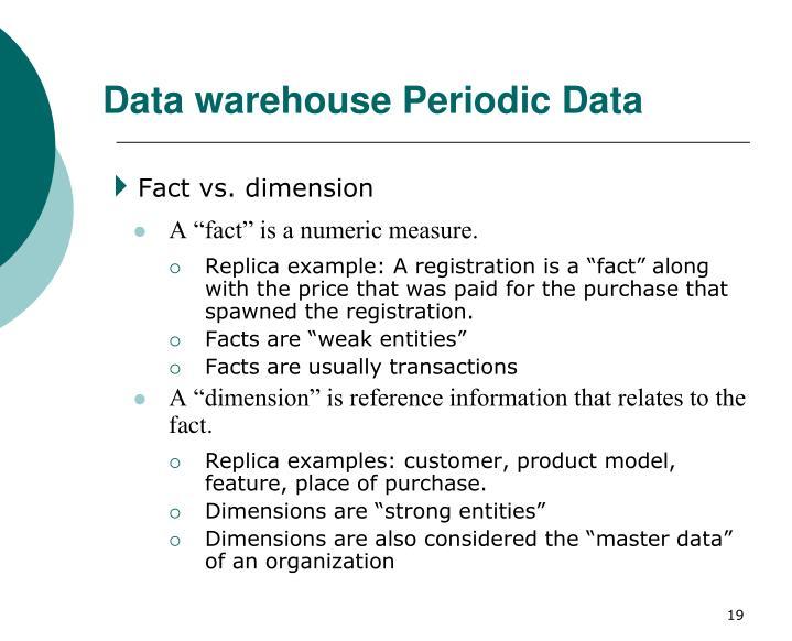 Data warehouse Periodic Data