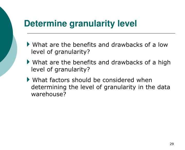 Determine granularity level