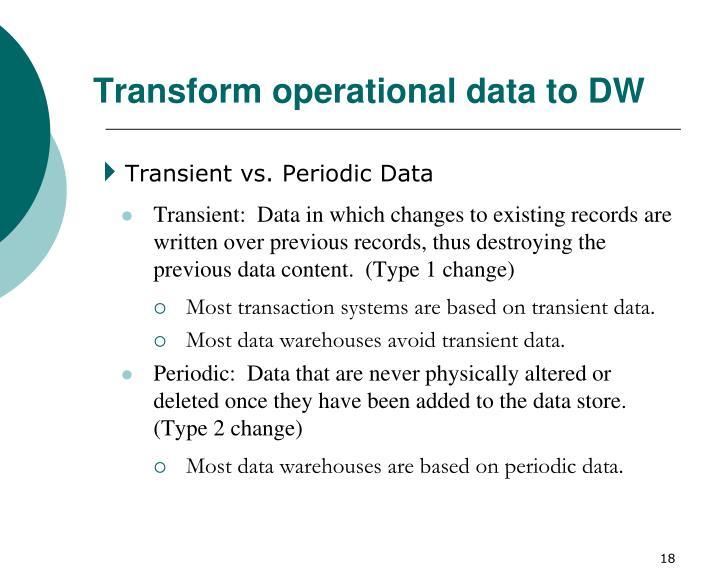 Transform operational data to DW
