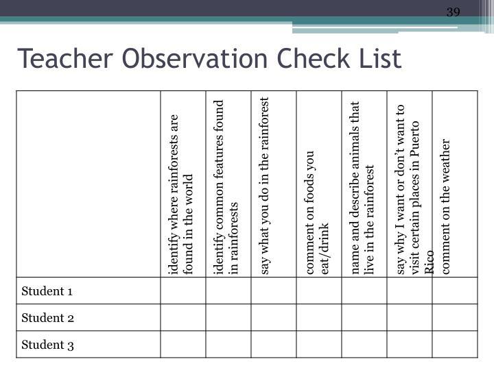 Teacher Observation Check List