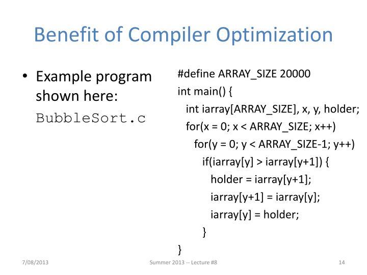 Benefit of Compiler Optimization