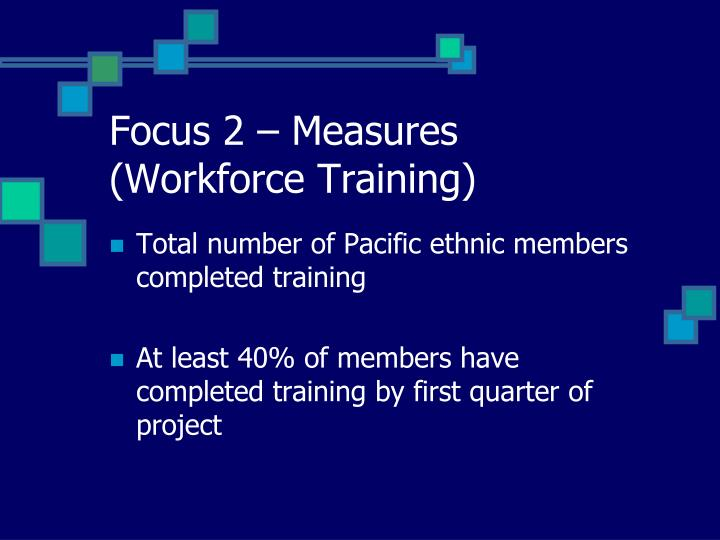 Focus 2 – Measures (Workforce Training)