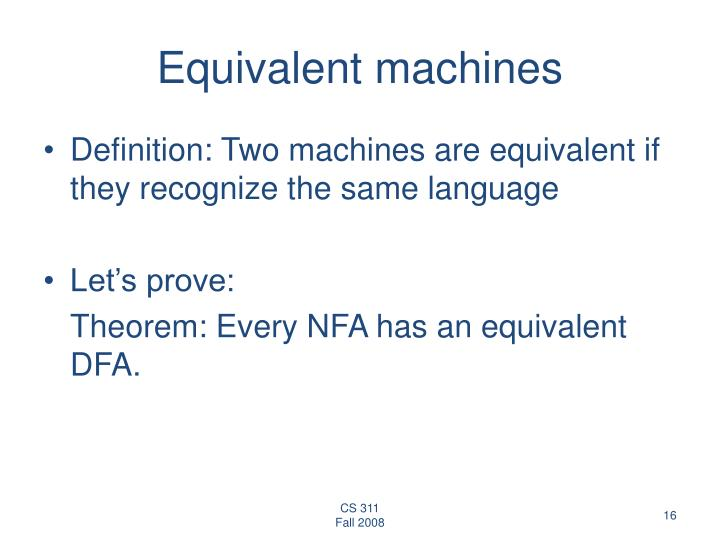 Equivalent machines