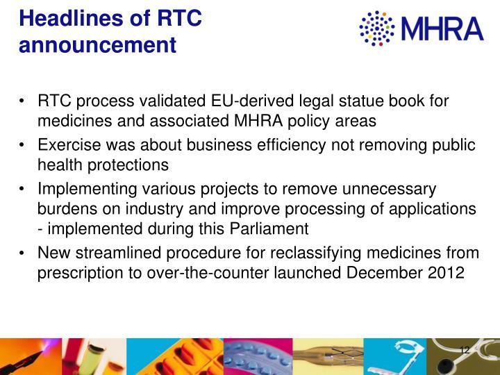 Headlines of RTC announcement