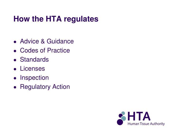 How the HTA regulates