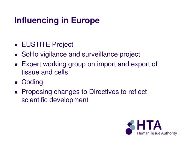 Influencing in Europe