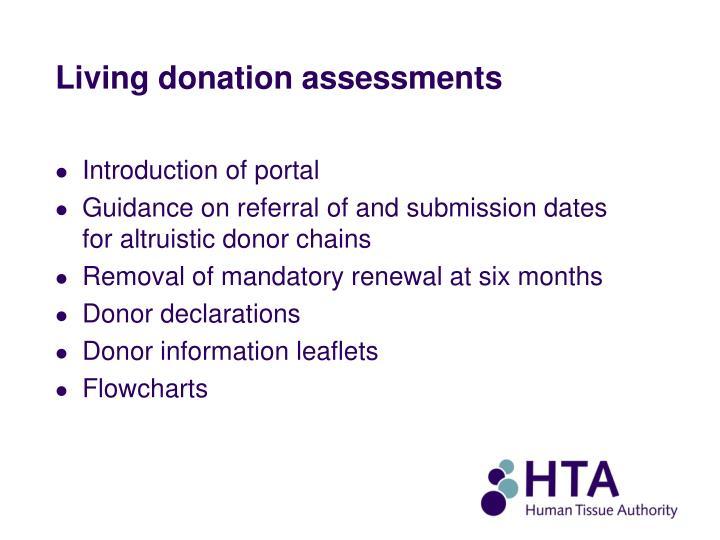 Living donation assessments