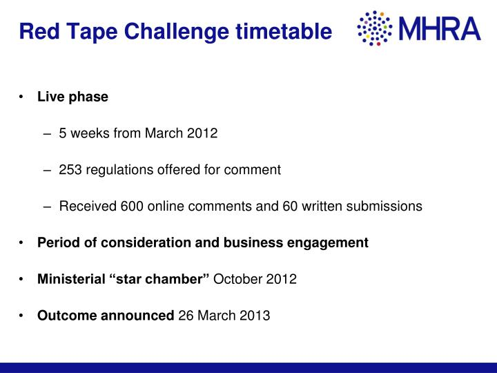 Red Tape Challenge timetable